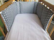 Cushi cots swing crib bumper boys  white stars on silver/grey new