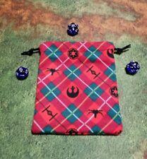 Star wars Christmas Plaid Flannel Dice Bag, Card Bag, Makeup Bag, Small Gift Bag