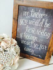 If Heaven wasn't so far away- Rustic unframed A4 chalkboard effect memorial sign