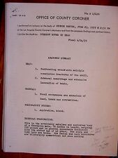 RARE  SUPERMAN GEORGE REEVES AUTOPSY AND COUNTY CORONER REPORT