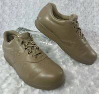 SAS Free Time Taupe Leather Lace Up Comfort Walking Shoes Women's Size 8.5 M