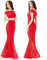 Goddiva Red Lace Bardot Maxi Evening Fishtail Mermaid Formal Party Dress Prom