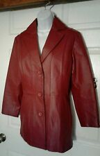George Red 100% leather Jacket size  small 4/ 6 chamarra larga de piel roja chic
