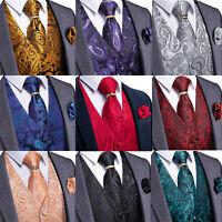 Mens Jacquard Paisley Waistcoat Suit Vest Necktie Tie Ring Hanky Cufflinks Set