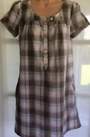 H&M 8 vgc brown pink check short sleeve longline tunic shirt dress