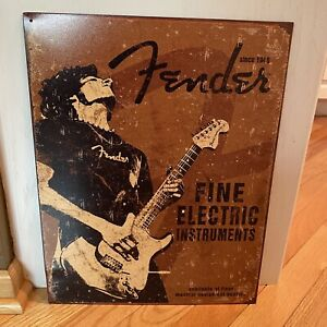 Fender Fine Electric Instruments Tin Sign Musician Guitarist Wall Decor Studio