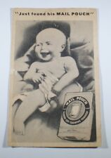 """Postcard  Trade Card  """"Just Found His Mail Pouch""""  Laughing Baby, Tobacco"""