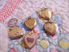 LOT OF 5 ANTIQUE/VINTAGE GOLD FILLED ORNATE HEART LOCKETS