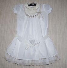 ALVIERO MARTINI Junior White Short Sleeve Stoned Pearl  Girl dress Size: 6a
