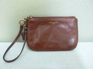 COACH Brown Distressed Leather Small Handbag Wristlet Clutch Coin Purse Bag