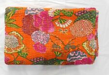 Indian Kantha Quilt Tropical Print Bedspread Blanket Twin Size Throw Bedding !