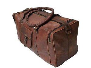 LARGE VINTAGE GENUINE LEATHER HOLDALL TRAVEL WEEKEND CABIN SPORTS DUFFEL BAG TAN