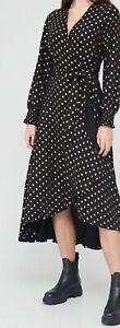 Size 16 V by Very Flocked Wrap Midi Black & Gold Dress