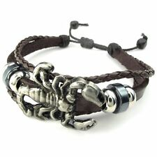 MENDINO Men's Alloy Leather Bracelet Braided Scorpion Gothic Brown Adjustable