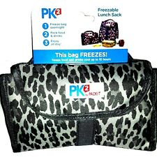 Packit Freezable Gel Lined Lunch Bag Folds Flat for Easy Storage New Gry Leopard