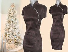 RARE Karen Millen Brown Jacquard Chinese Oriental Style Wiggle Dress UK10  EU38