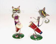 Katze aus Blech mit Trommel 2er Set H 22cm
