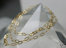 """17.5"""" Italian 2.28g Solid 14K Yellow Gold Hammered Paper Chain Necklace 5x3mm"""
