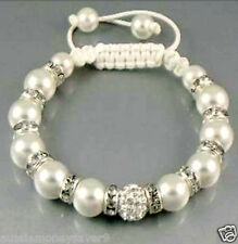 BN Shamballa friendship Bead bracelet bangle crystal Pearl adjustable 20-28cm