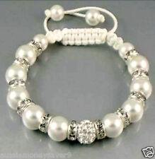 baby christening baptism charm Pearl Shamballa Bracelet Beads 23cm FREE Giftbag