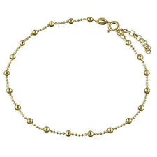 9ct Yellow on Silver Anklet / Ankle Bracelet - 9.5 inch / 10.5 inch