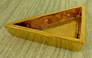 Vintage triangle Dish Bowl Ashtray Gold Ceramic Midcentury Retro