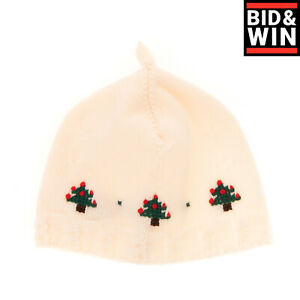 DOLCE & GABBANA Wool Beanie Cap Size 1 / 42 CM / 3-6M HANDMADE Christmas Trees