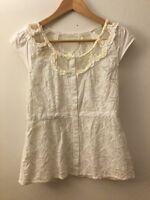 Floreat Anthropologie White Cap Sleeve Button Down Blouse, Size 2