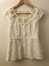 Floreat Anthropologie White Cap Sleeve Button Down Blouse, Size 2