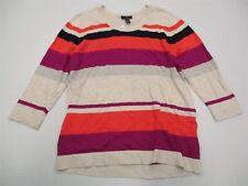 new GAP #K182 Women's Size XL 100% Cotton Striped 3/4 Sleeve Beige Knit Sweater