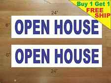 """Open House Blue 6""""x24"""" Real Estate Rider Signs Buy 1 Get 1 Free 2 Sided"""