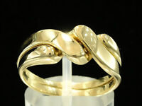 R008 Genuine 9K 9ct Yellow, Rose or White Gold Puzzle Wedding 2- Band Ring