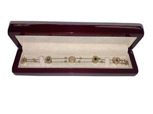 Richard Glatter Slide Charm Bracelet 14k Gold 5 Charms Charm Bracelet