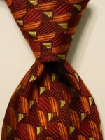 ERMENEGILDO ZEGNA Men's 100% Silk Necktie ITALY Luxury Geometric Red/Orange EUC