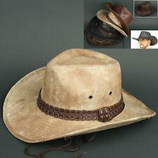 Cowboy COW N BEIGE Trilby BUCKET CAP Vintage Leather Style Sun Visor HAT Unisex