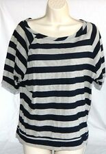 Women's Navy & Gray Stripe Shirt By Alloy Size L Comfy Loose Fitting Casual