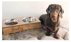 Personalised Double Dog Bowl Holder, sausage dog, Weiner dog, Dachshund