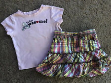 """Gymboree """"A� Is For Awesome Pink Top Plaid Ruffle Tiered Skirt Pockets 5-6 Girls"""
