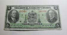 1935 Canada $5 dollars ROYAL BANK BANKNOTE Chartered banknote small signature