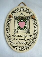 """TRINITY POTTERY """"Friendship is a Work of Heart"""" Wall Plaque, Hand Crafted USA"""