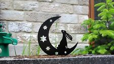 Moon Gazing Hare on Moon Silhouette Metal Free Standing Garden, Home Ornament
