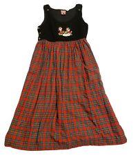 Vintage Disney Park Exclusive Womens L Dress Mickey Minnie Christmas Plaid Skirt