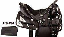 16 17 18 BLACK CODURA SYNTHETIC WESTERN PLEASURE TRAIL SADDLE HORSE TACK