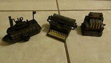 Vintage Miniature Metal Pencil Sharpener LOT - Typewriter Register Steam Boat