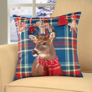 """NEW! Cute Christmas,Winter,Deer 3D plaid filled Pillow.16"""" square, with a Bell"""