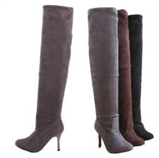 Sexy Women Suede Fabric Pull On Stilettos Over The Knee High Boots 35/43 Party B