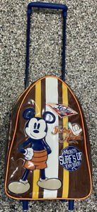 VINTAGE MICKEY MOUSE SURF'S UP KIDS ROLLING LUGGAGE TRAVEL BAG DISNEY STORE EXCL