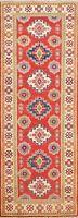 Vegetable Dye Super Kazak Geometric Oriental Runner Rug Hand-knotted Hallway 2x6