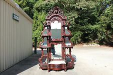 Spectacular Walnut Victorian Rose and Fruit & Nut Carved Marble Top Etagere