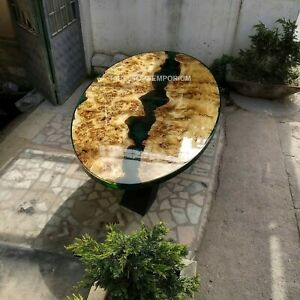 Oval Green Epoxy Resin Live Edge Walnut 6 To 8 People Dining Table Top Furniture